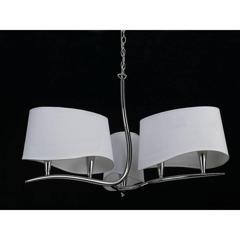 Lampara colgante Ninette 6 luces cromo pantalla blanca de Mantra
