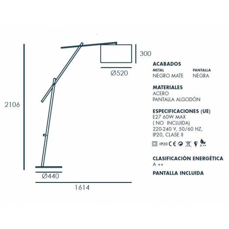 Lámpara de pie Ario 1L E27 - Aromas