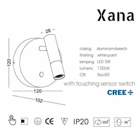 XANA Narcea 3w LED wall lamp wood