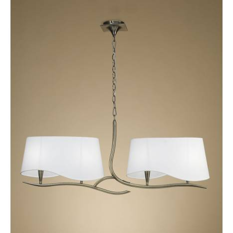 Mantra Ninette lamp linear 4L E27 leather white lampshade