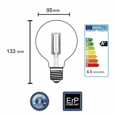 Bombilla LED 6.5w E27 G95 Ambar - Mantra