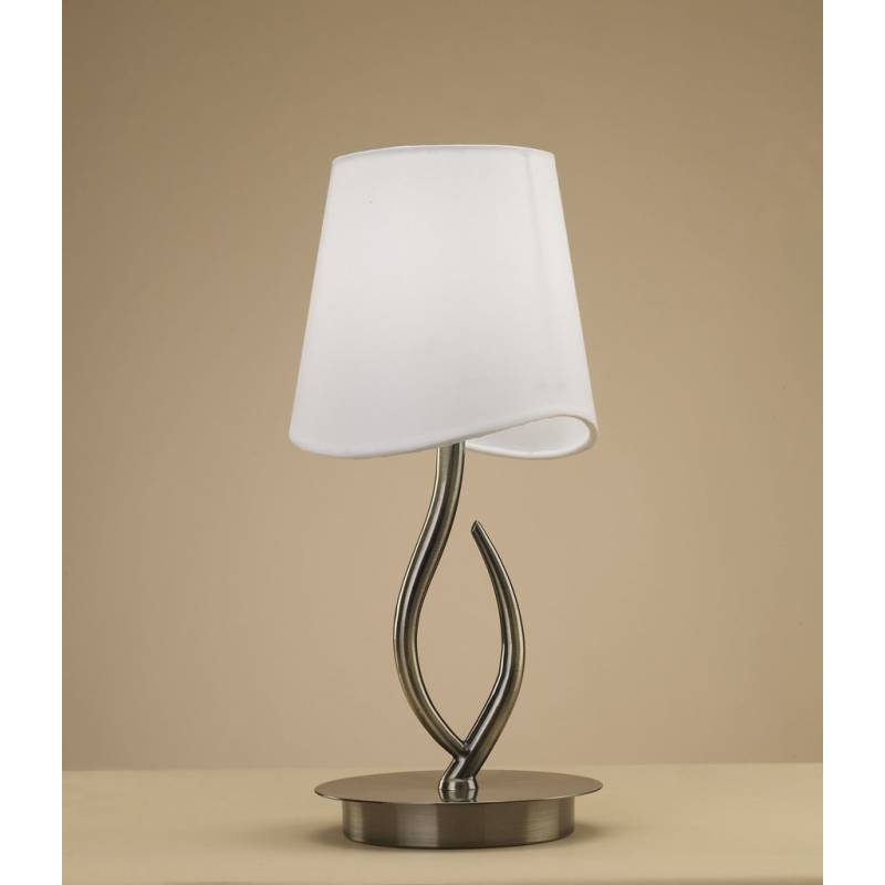 Mantra Ninette table lamp 1L E14 leather white lampshade