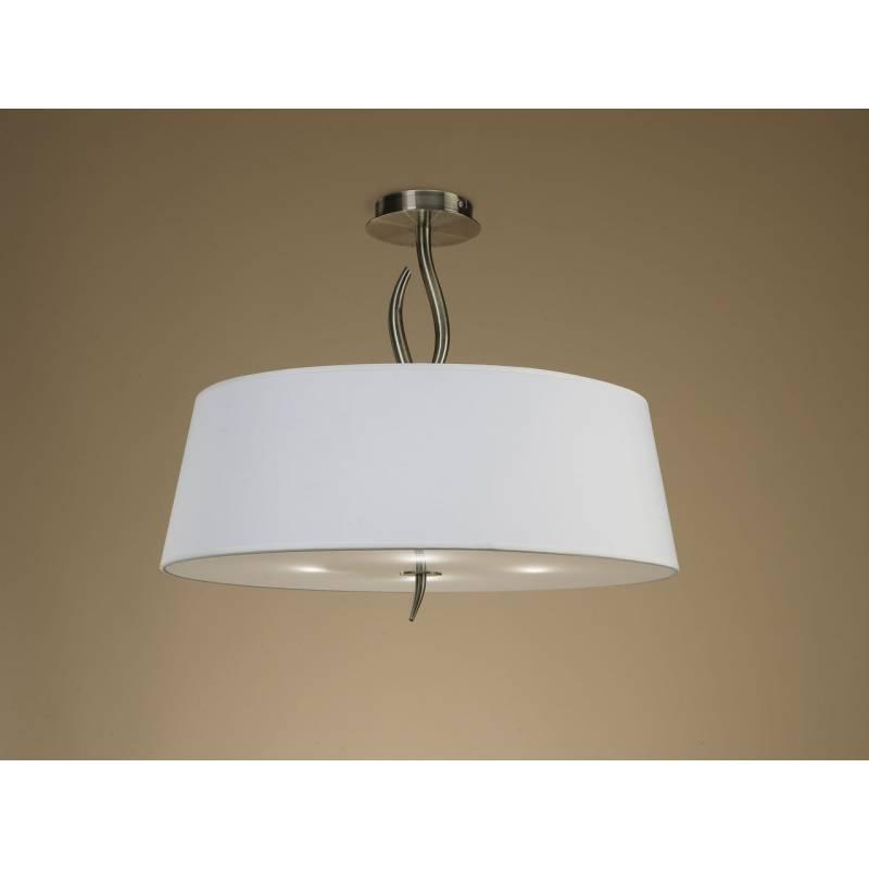 L mpara de techo ninette 4 luces cuero pantalla blanco - Lamparas de techo habitacion ...