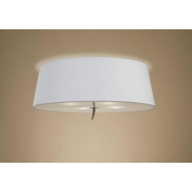 Plafon de techo Ninette 4 luces cuero pantalla blanco de Mantra