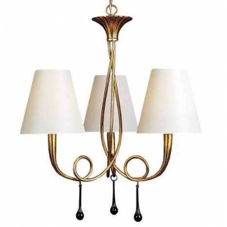 Lampara colgante Paola 3 luces oro pantalla crema de Mantra