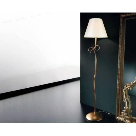 Lampara de pie Paola 1 luz oro pantalla crema de Mantra