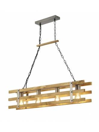 Lámpara colgante Khan 4L E27 madera - Trio
