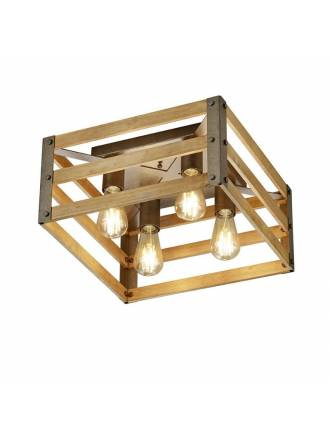 Plafón de techo Khan 4L E27 madera - Trio
