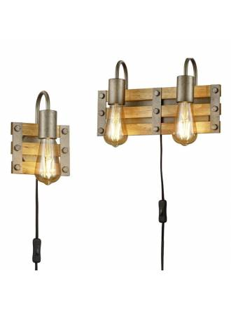TRIO Khan E27 wall lamp wood
