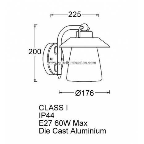 Aplique de pared Cate 1L E27 IP44 - Lutec