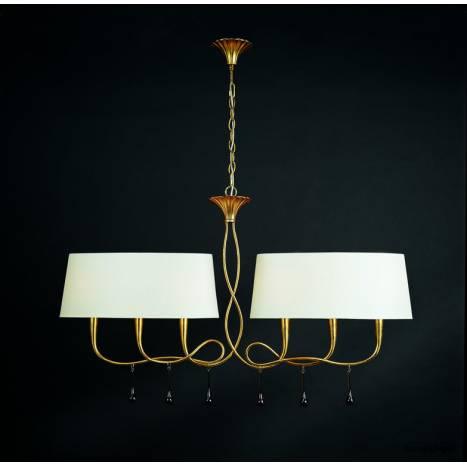 Lampara colgante Paola 6 luces oro pantalla crema de Mantra