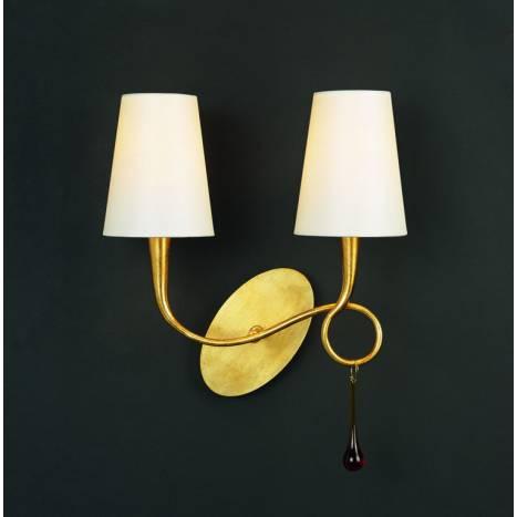 Aplique de pared Paola 2 luces oro pantalla crema de Mantra
