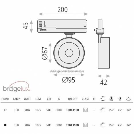 Foco de carril trifasico Mako LED 20w - ACB