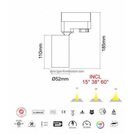 Foco de carril Picolo LED 9.5w CCT - Beneito Faure
