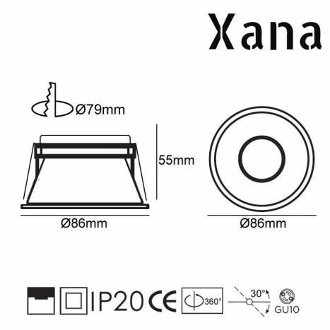 Foco empotrable Moal GU10 blanco - Xana