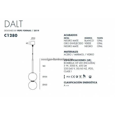 Lámpara colgante Dalt II marmol - Aromas