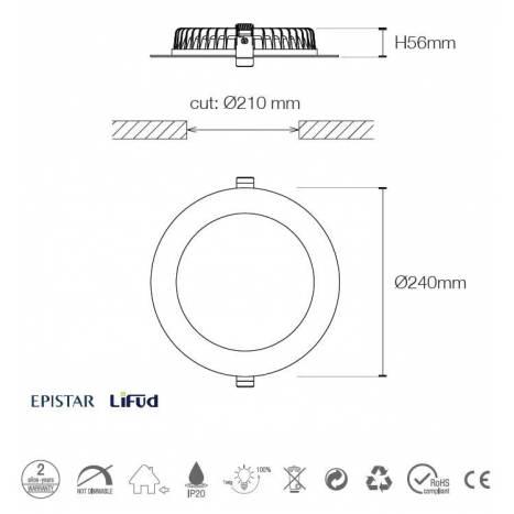 Downlight Flat Pro LED 30w blanco - Maslighting