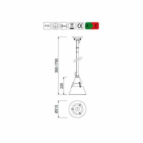 MANTRA Industrial 1L E27 pendant lamp grey