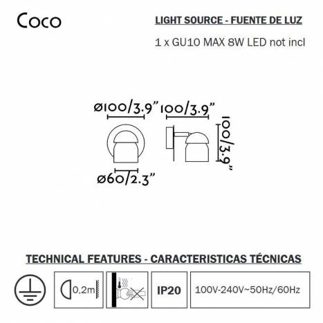 Aplique de pared Coco 1L Gu10 - Faro