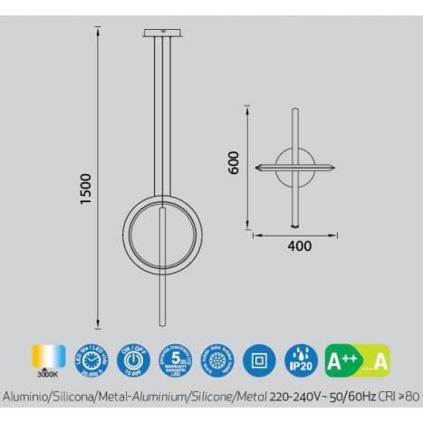 MANTRA Kitesurf 48w LED 60 pendant lamp