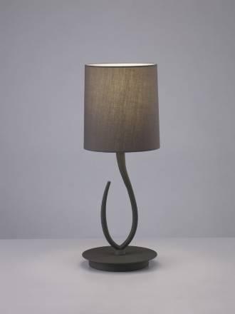 Lampara de mesa Lua 1 luz gris ceniza pantalla gris de Mantra