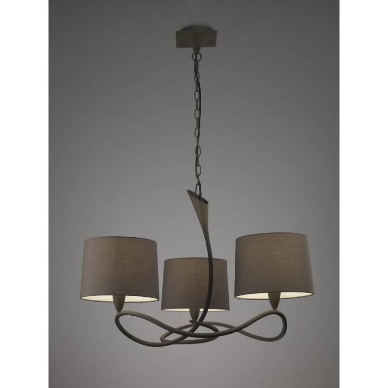 Mantra Lua pendant lamp 3L E27 grey