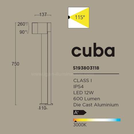 Baliza Cuba LED IP54 antracita - Lutec
