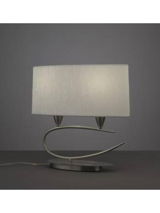 Lampara de mesa Lua 2 luces niquel pantalla blanca de Mantra