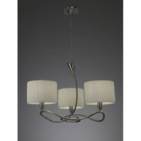 Mantra Lua pendant lamp 3L nickel satin 3 lampshade