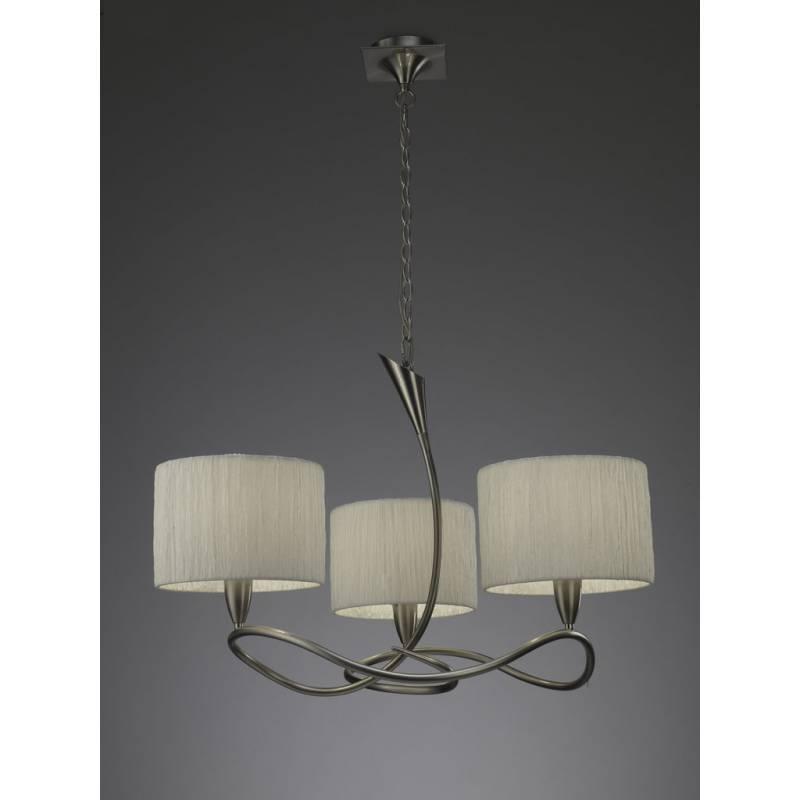 Mantra Lua pendant lamp 3L nickel satin 3 lampshade