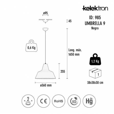 Lámpara colgante Umbrella E27 metal - Kelektron