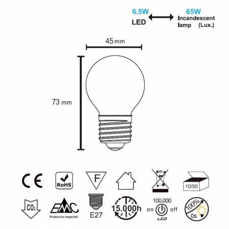 Bombilla LED 6.5w E27 360° 800lm - Mantra