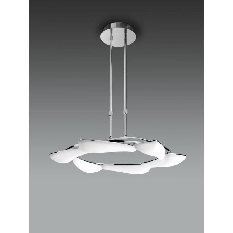 L mpara colgante mistral 6 luces led 36w cromo mantra for Lamparas colgantes led