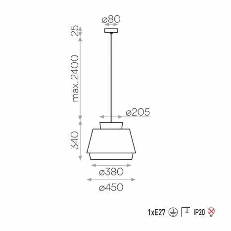 Lámpara colgante Aspen E27 tela - ACB