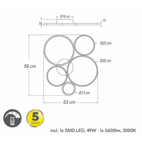 Plafón de techo Rondo LED 49w dimensiones - Trio