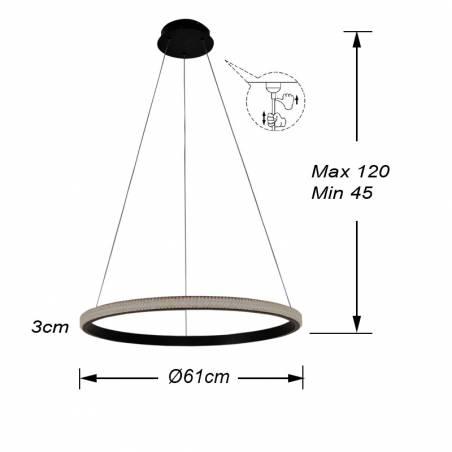 Lámpara colgante Ring LED 25w dimensiones Schuller