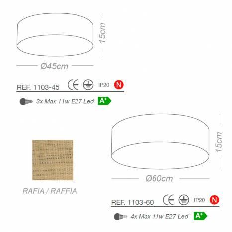 ILUSORIA Rafia Classic E27 fabric  dimensions ceiling lamp