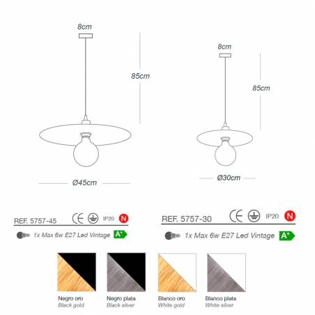 Lámpara colgante Plume E27 tela dimensiones Ilusoria