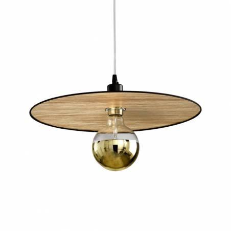Lámpara colgante Plume E27 tela oro negro Ilusoria