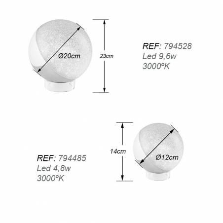 Lámpara de mesa Sphere LED cromo dimensiones Schuller
