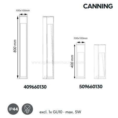 TRIO Canning GU10 IP44 wood beacon lamp dimensions