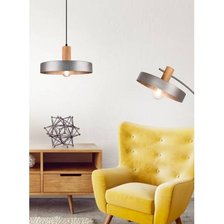 Lámpara colgante Gaya E27 madera ambiente - Trio