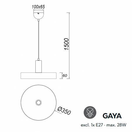 Lámpara colgante Gaya E27 madera dimensiones - Trio