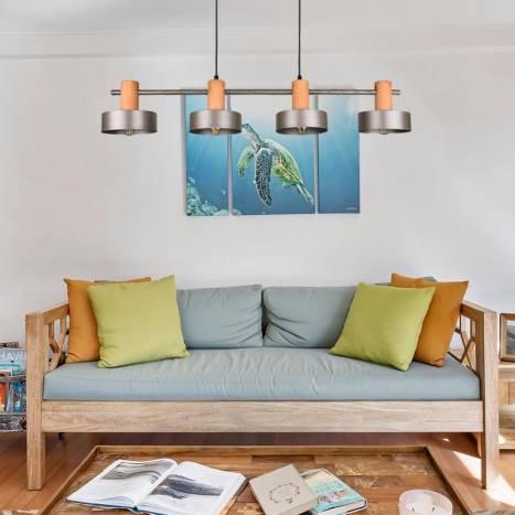 TRIO GAYA 4L E27 wood ceiling lamp ambient