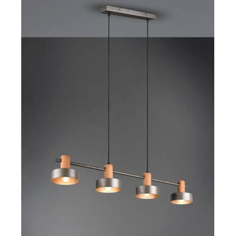 TRIO GAYA 4L E27 wood ceiling lamp 1