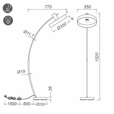 TRIO Gaya E27 wood floor lamp dimensions