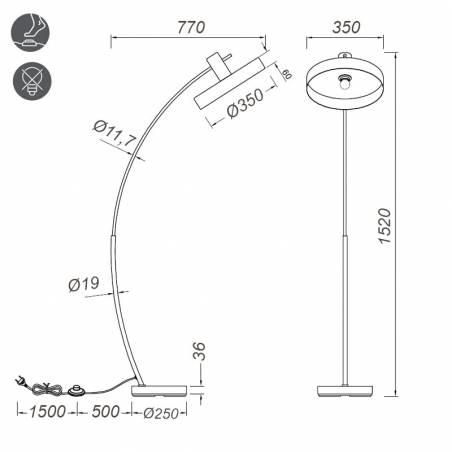 Lámpara de pie Gaya E27 madera info - Trio