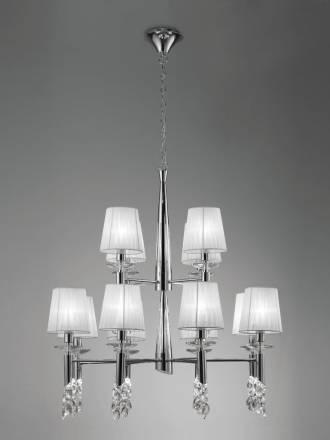 Lampara colgante Tiffany 12 pantallas cromo de Mantra