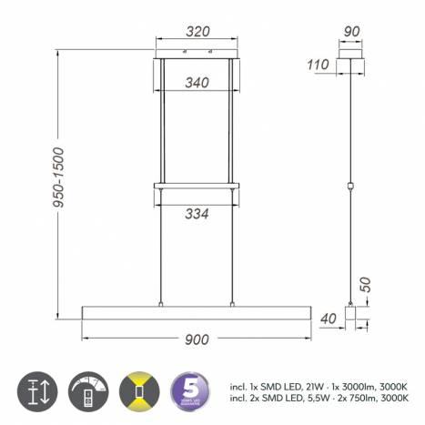 TRIO Paros LED 32w pendant info lamp