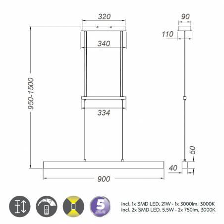 Lámpara colgante Paros LED 32w info - Trio
